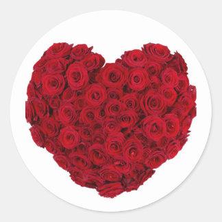 Rose heart shape round sticker