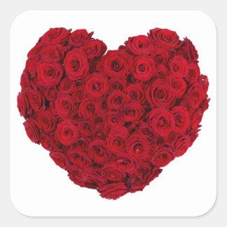 Rose heart shape square sticker