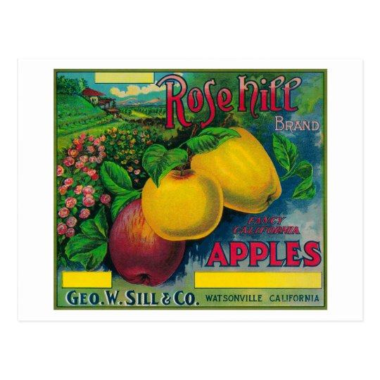 Rose Hill Apple Crate LabelWatsonville, CA Postcard