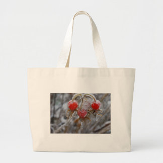 Rose Hips Under Ice Canvas Bags