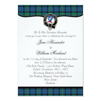 Rose Hunting Tartan & Clan Badge Scottish Wedding 13 Cm X 18 Cm Invitation Card