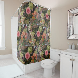 Rose Hydrangea Bouquet Shower Curtain