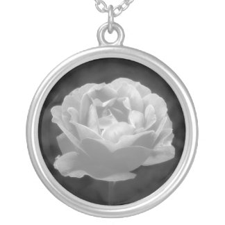 Rose In Black And White Silver Plated Necklace