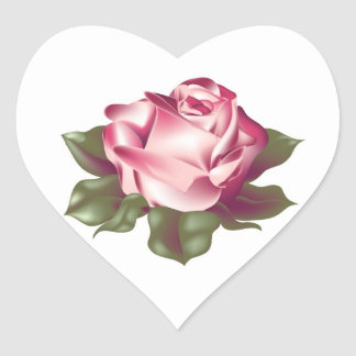 Rose in Full Bloom Wedding Hearts Heart Sticker