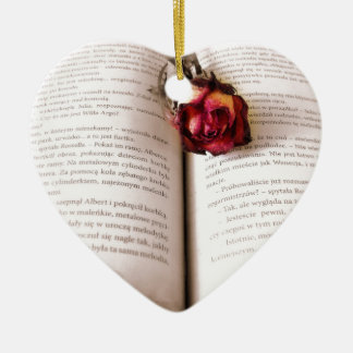 Rose in the bible ceramic heart decoration