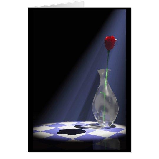 rose in vase card