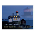 Rose Island Lighthouse at night, Rhode Island Post Cards