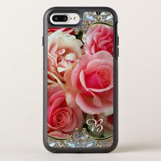 Rose Juxtapose Monogram Pretty Vintage Chic OtterBox Symmetry iPhone 8 Plus/7 Plus Case