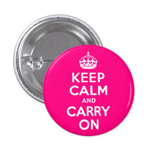 Rose Keep Calm and Carry On 3 Cm Round Badge