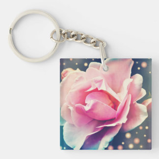 Rose Square Acrylic Key Chains