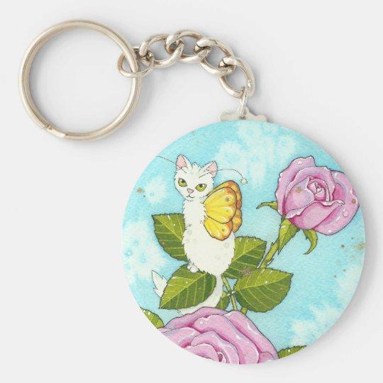 Rose kitty fairy keychaing basic round button key ring