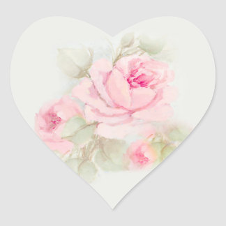 Rose Labels Pinks Heart Sticker
