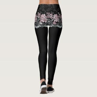 Rose Lace Girdle Shorts on Black Leggings