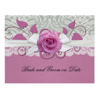 Rose Lace Silver/Pink Damask Save date card