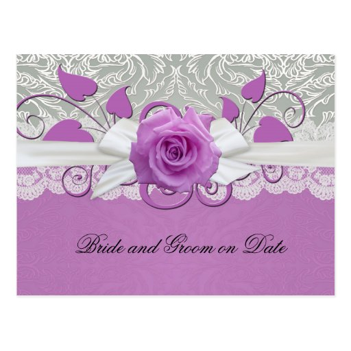 Rose Lace Silver/Purple Damask Save date card Postcard