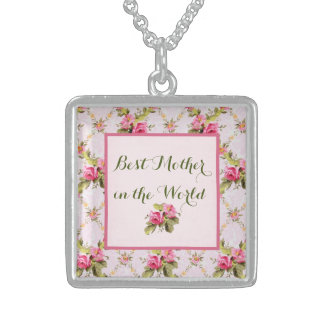 Rose Lattice Pink Sterling Silver Necklace