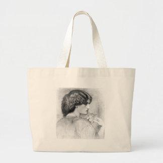 Rose Leaf Lady Drawing Jumbo Tote Bag