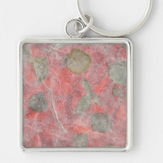 Rose leaves design in red tissue paper keychain