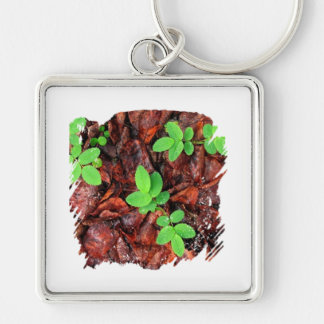 Rose Leaves; No Text Silver-Colored Square Key Ring