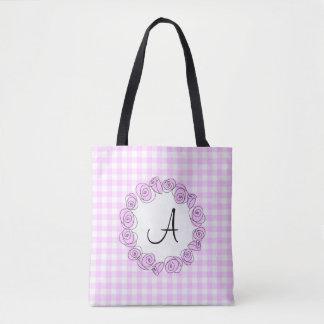 Rose Lilac Monogram check all over tote Tote Bag