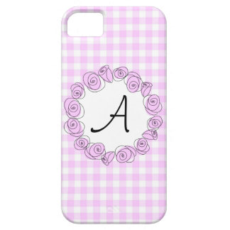 Rose Lilac Monogram check iPhone 5 case vertical