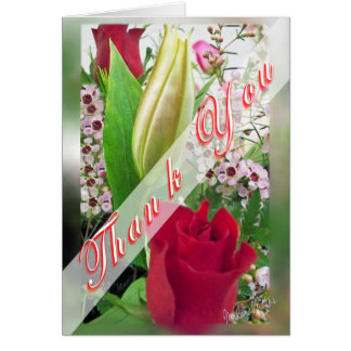 Rose & Lily Bud Thank You Greeting Card