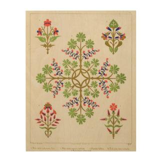 Rose motif wallpaper design, printed by M. & N. Ha Wood Print