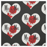 Rose Mr. and Mrs. Wedding Black Heart Template Fabric
