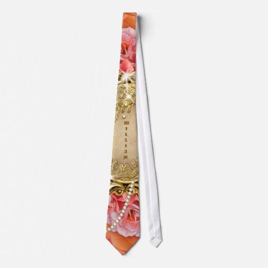 Rose n pearls vintage wedding tie