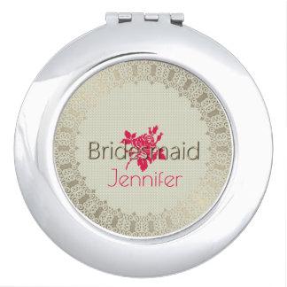 Rose-Needlepoint_Bridesmaid-Monogram_Champagne Travel Mirrors