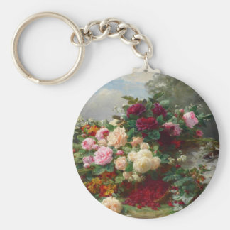 Rose of fall basic round button key ring