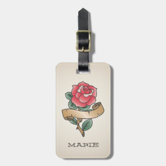 Rose Old School tattoo customizable luggage tag