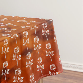 Rose on amber background tablecloth