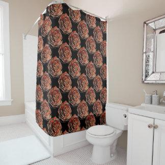 Rose on Black Patterned Shower Curtain