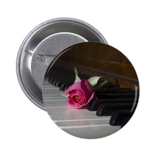 Rose on Piano Pinback Button