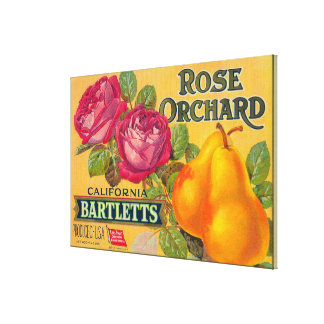 Rose Orchard Pear Crate Label Stretched Canvas Print
