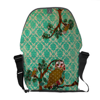 Rose Owl Boho Jade Damask Messenger Bag