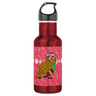 Rose Owl Pink  Liberty Bottle 18oz Water Bottle