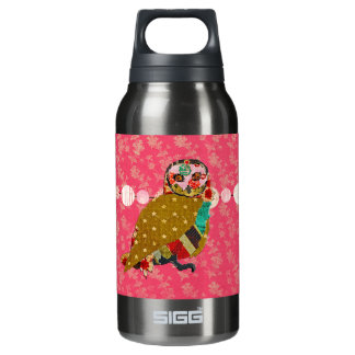 Rose Owl Pink  Liberty Bottle 10 Oz Insulated SIGG Thermos Water Bottle