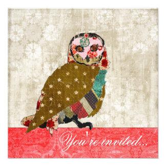 Rose Owl Red & White Vintage Invitation