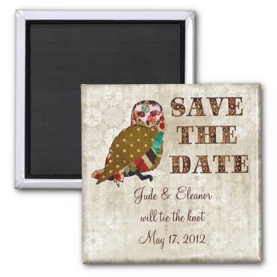 Rose Owl Save the Date White Floral Vintage Magnet
