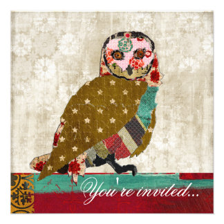 Rose Owl Teal Red White Invitation
