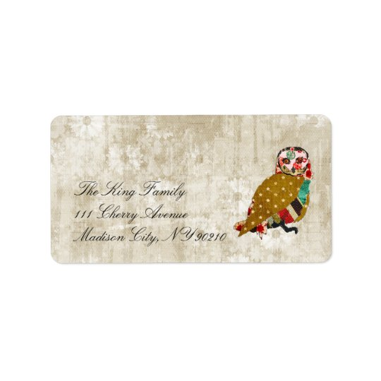 Rose Owl Whitewash Floral Vintage  Label Address Label