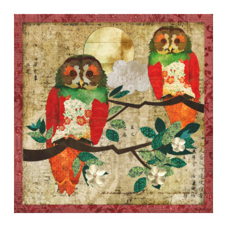 Rose Owls Full Moon Stretched Canvas Prints