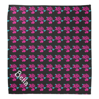 Rose Pattern Black Pink Mint Pet Name Template Bandana