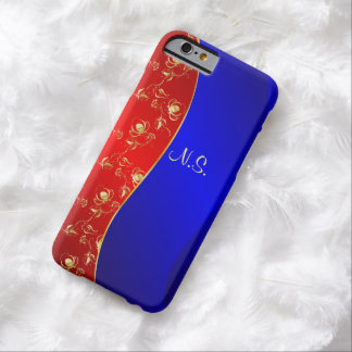 Rose pattern on blue and red wave background barely there iPhone 6 case