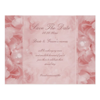 Rose pearl save the date pink invitations postcard