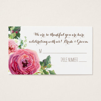 Rose Peony Leaf Wreath Wedding Table Place Cards