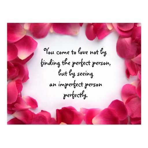 Rose Petal Frame PostCard with Love Quote