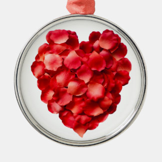 Rose Petal Heart Silver-Colored Round Decoration